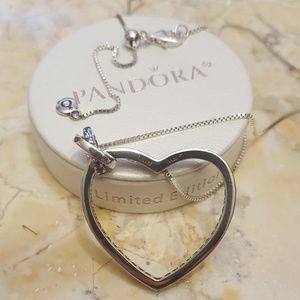 24144c49adf5e Authentic pandora rainbow heart necklace w chain Boutique
